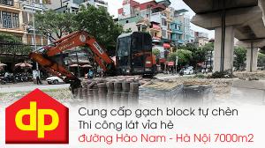 Đại Phương thi công lát vỉa hè đường Hào Nam - Hà Nội với diện tích 7000m2