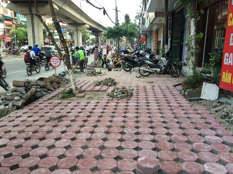 Một đoạn đường Hào Nam - Hà Nội được Đại Phương thi công lát vỉa hè