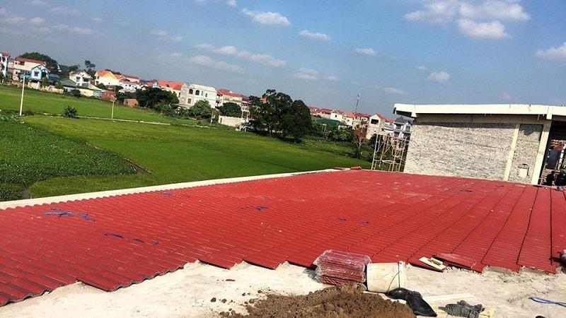 Đại Phương thi công ngói màu tại trường Tiểu học Văn Môn - Yên Phong - Bắc Ninh diện tích 3000m2 ngói Fujika