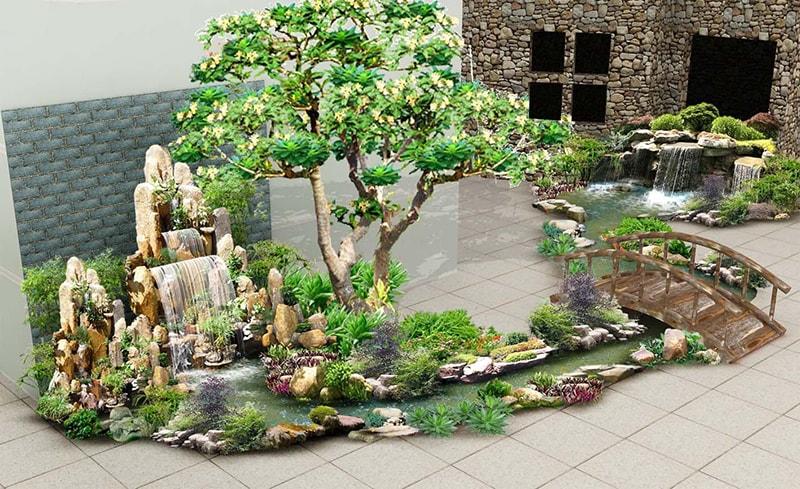 Sân vườn tiểu cảnh thoáng mát, lát đá mang đến cảm giác sạch sẽ, sang trọng cho ngôi nhà của bạn