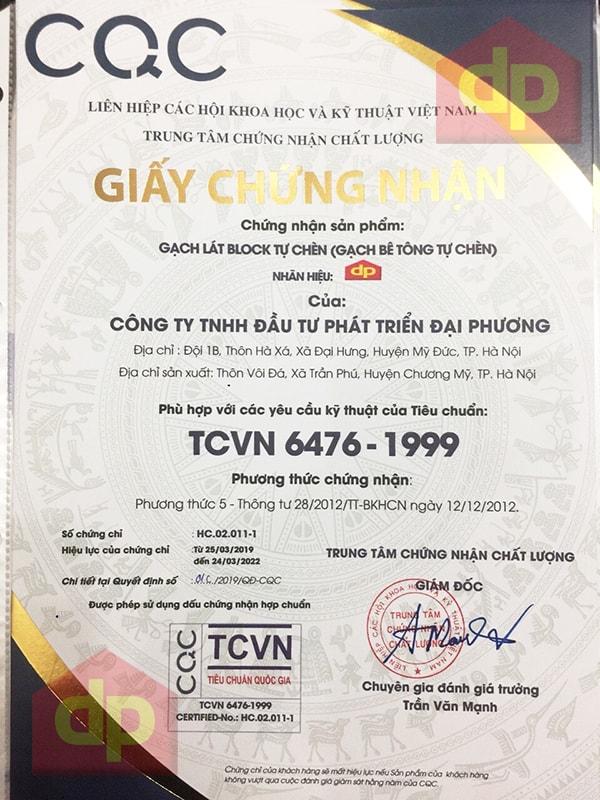Gạch block tự chèn Đại Phương đạt chứng nhận CQC TCVN 6476 1999